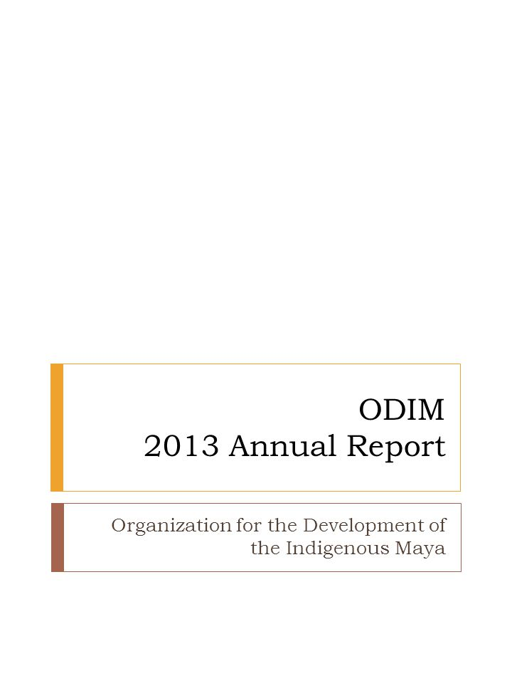 ODIM 2013 Annual Report Organization for the Development of the Indigenous Maya