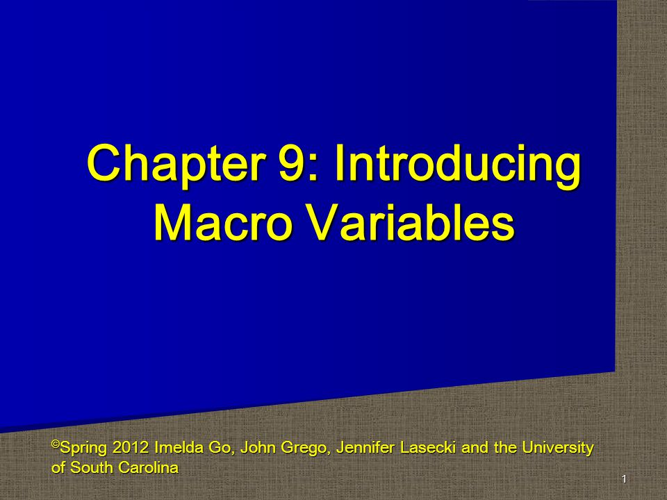 Chapter 9: Introducing Macro Variables 1 © Spring 2012 Imelda Go, John Grego, Jennifer Lasecki and the University of South Carolina