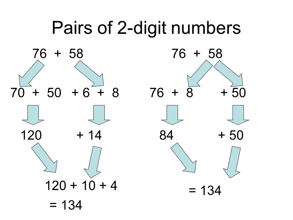 Pairs of 2-digit numbers 76 + 58 + 6 + 870 + 50 120+ 14 120 + 10 + 4 = 134 76 + 58 + 5076 + 8 84+ 50 = 134