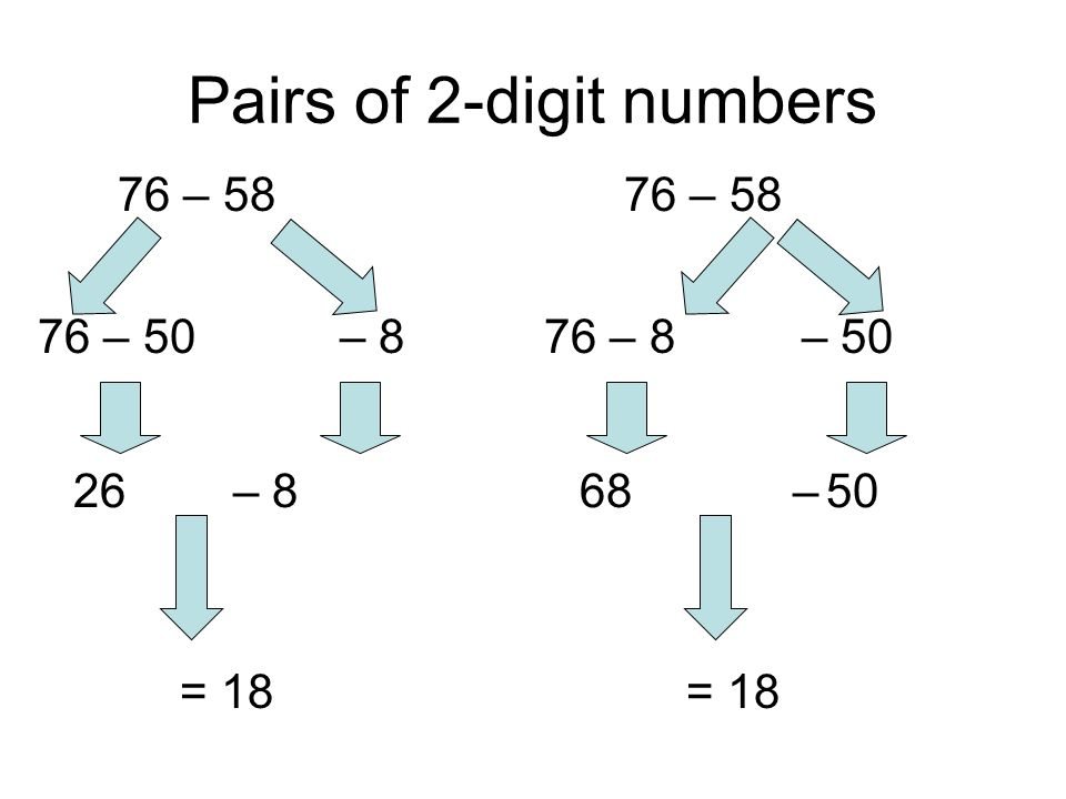 Pairs of 2-digit numbers 76 – 58 – 876 – 50 26– 8 = 18 76 – 58 – 5076 – 8 68– 50 = 18