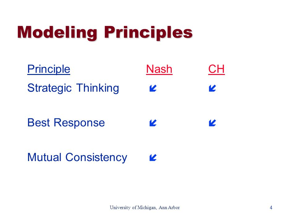 4 University of Michigan, Ann Arbor Modeling Principles PrincipleNash CH Strategic Thinking   Best Response   Mutual Consistency 
