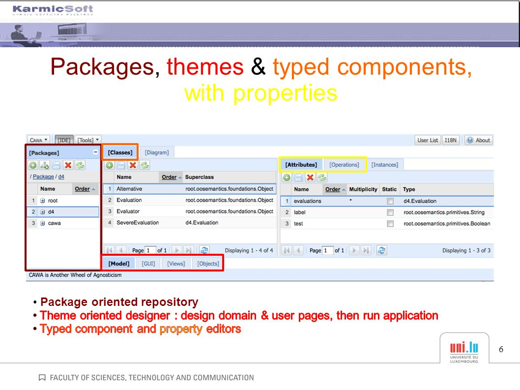 Packages, themes & typed components, with properties 6