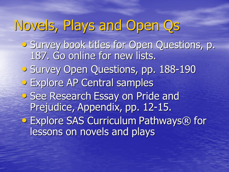 Novels, Plays and Open Qs Survey book titles for Open Questions, p.