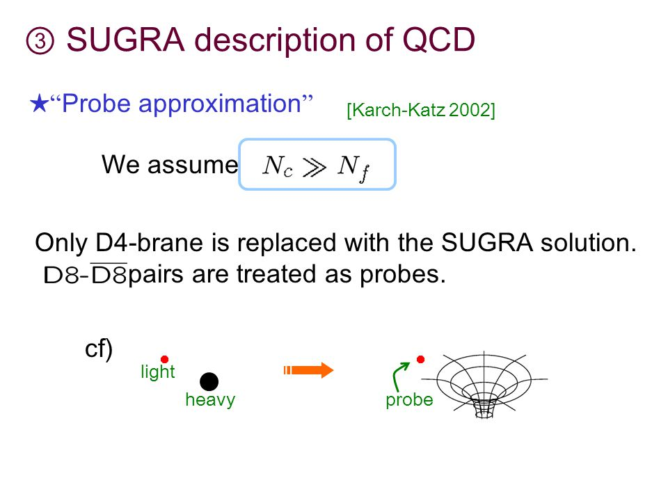 ③ SUGRA description of QCD ★ Probe approximation [Karch-Katz 2002] We assume Only D4-brane is replaced with the SUGRA solution.
