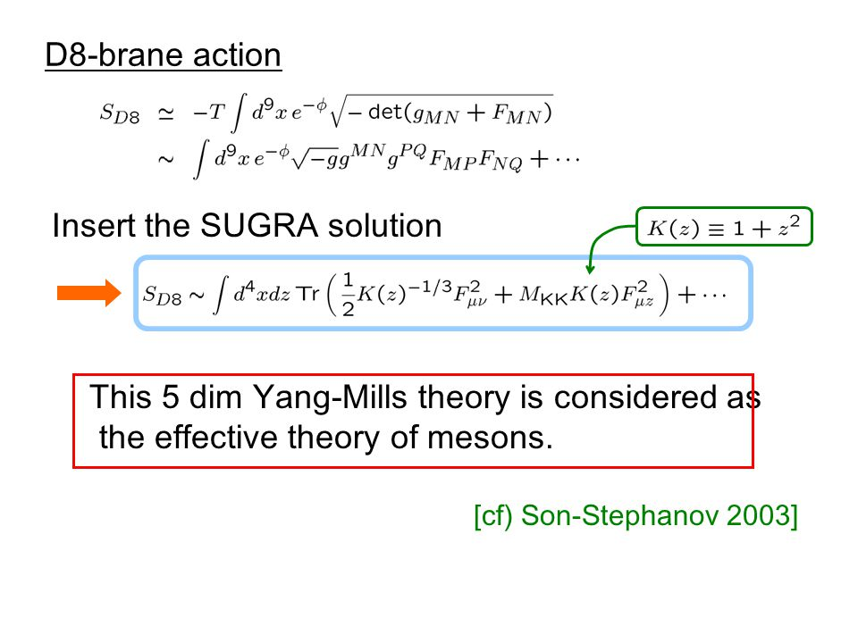 Insert the SUGRA solution D8-brane action This 5 dim Yang-Mills theory is considered as the effective theory of mesons.