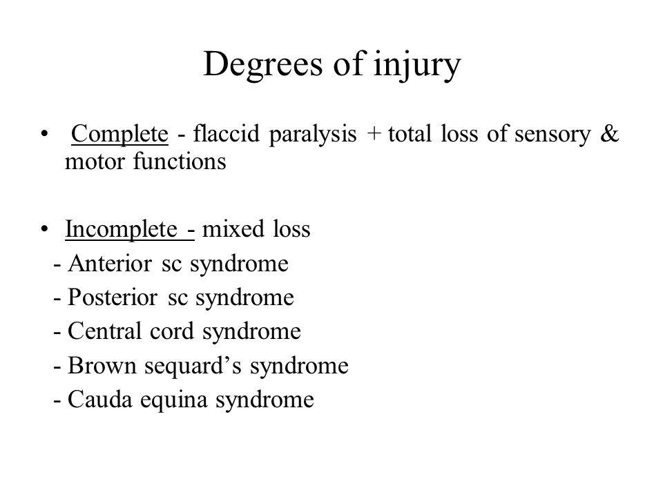 Degrees of injury Complete - flaccid paralysis + total loss of sensory & motor functions Incomplete - mixed loss - Anterior sc syndrome - Posterior sc syndrome - Central cord syndrome - Brown sequard's syndrome - Cauda equina syndrome