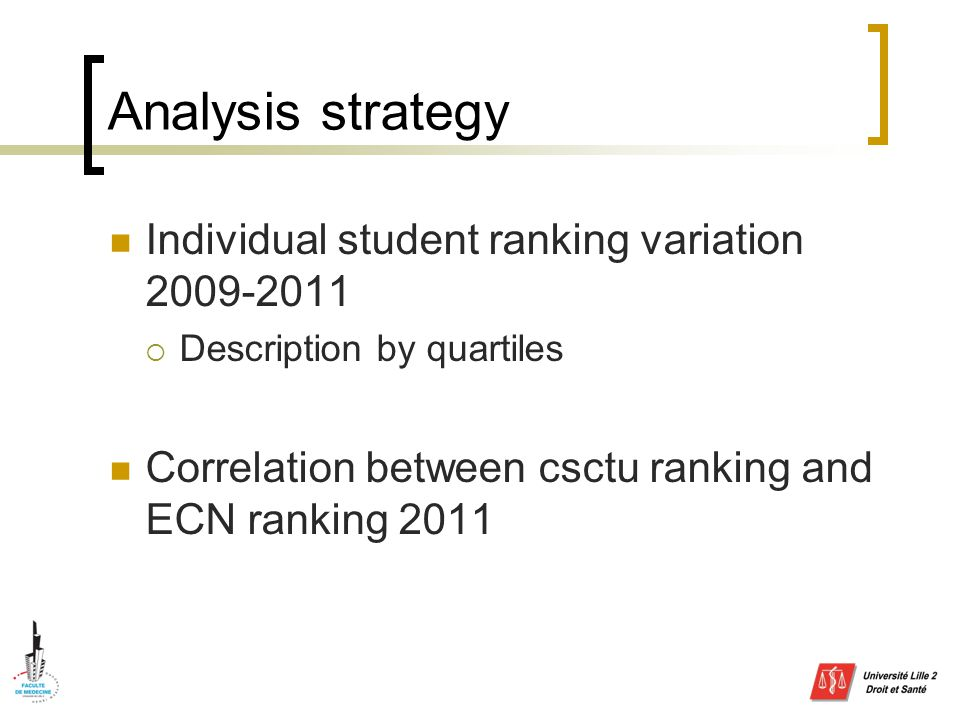 Analysis strategy Individual student ranking variation 2009-2011  Description by quartiles Correlation between csctu ranking and ECN ranking 2011