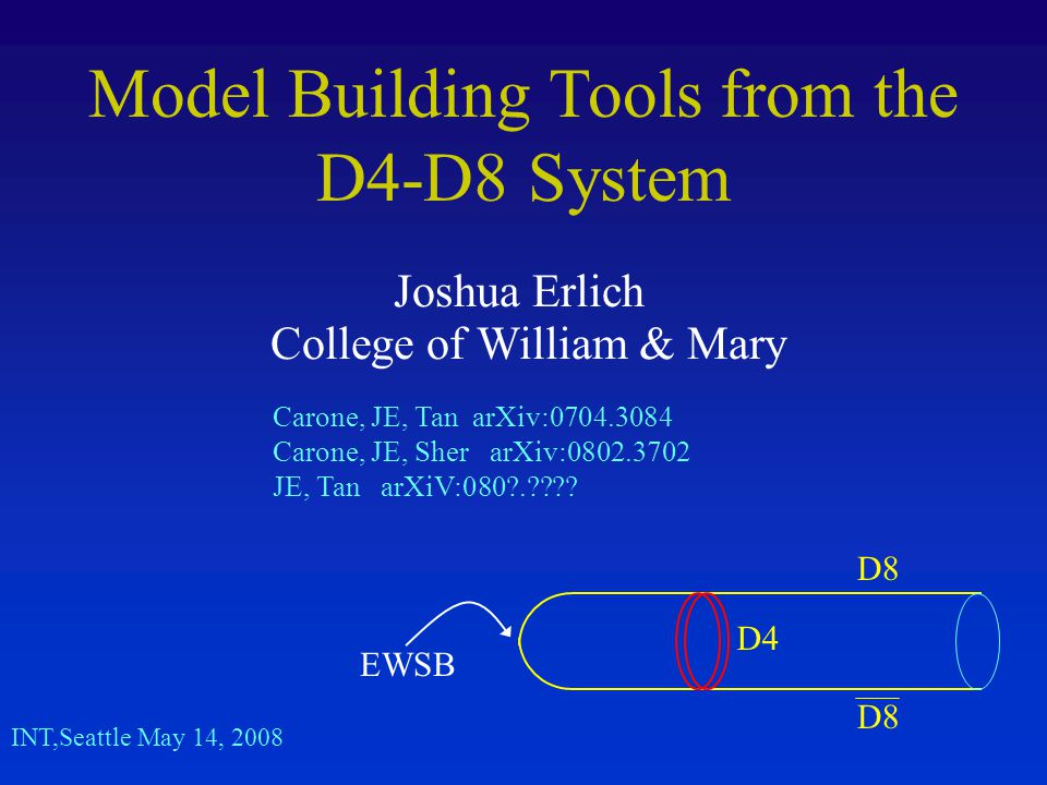 Model Building Tools from the D4-D8 System Joshua Erlich College of William & Mary INT,Seattle May 14, 2008 Carone, JE, Tan arXiv:0704.3084 Carone, JE, Sher arXiv:0802.3702 JE, Tan arXiV:080 . .