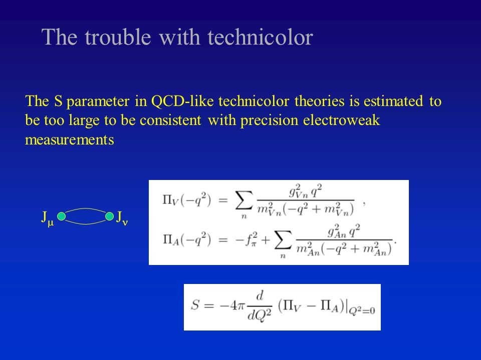 The trouble with technicolor The S parameter in QCD-like technicolor theories is estimated to be too large to be consistent with precision electroweak measurements JJ J
