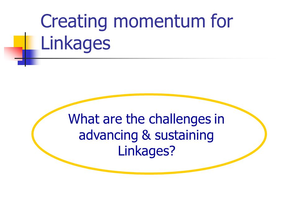 Creating momentum for Linkages What are the challenges in advancing & sustaining Linkages