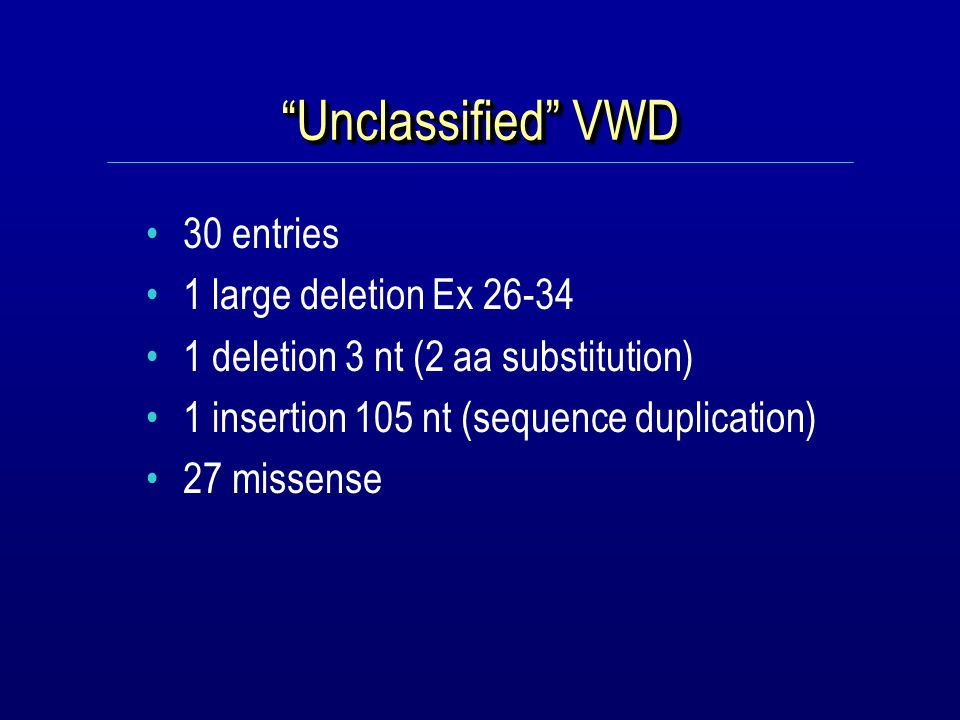 Unclassified VWD 30 entries 1 large deletion Ex 26-34 1 deletion 3 nt (2 aa substitution) 1 insertion 105 nt (sequence duplication) 27 missense