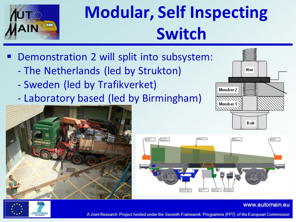 www.automain.eu A Joint Research Project funded under the Seventh Framework Programme (FP7) of the European Commission Modular, Self Inspecting Switch  Demonstration 2 will split into subsystem: - The Netherlands (led by Strukton) - Sweden (led by Trafikverket) - Laboratory based (led by Birmingham)