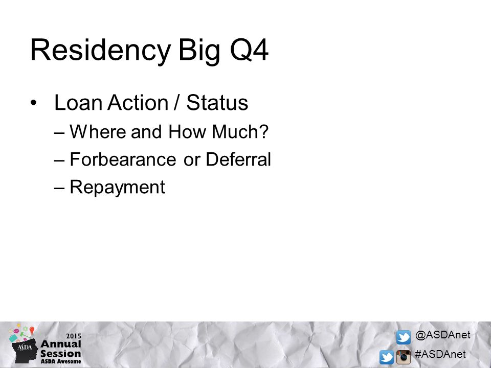 @ASDAnet #ASDAnet Residency Big Q4 Loan Action / Status –Where and How Much.