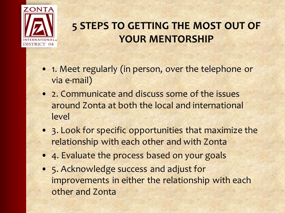 5 STEPS TO GETTING THE MOST OUT OF YOUR MENTORSHIP 1.