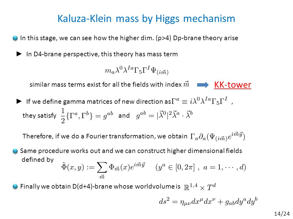 Kaluza-Klein mass by Higgs mechanism In this stage, we can see how the higher dim.