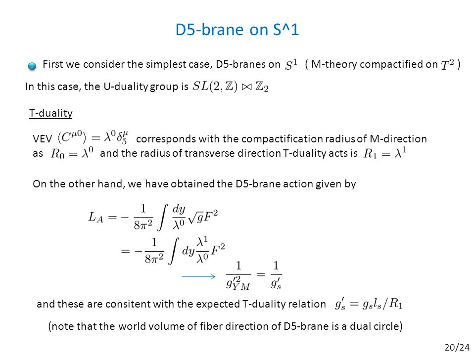 D5-brane on S^1 VEV corresponds with the compactification radius of M-direction as and the radius of transverse direction T-duality acts is T-duality On the other hand, we have obtained the D5-brane action given by and these are consitent with the expected T-duality relation First we consider the simplest case, D5-branes on ( M-theory compactified on ) In this case, the U-duality group is (note that the world volume of fiber direction of D5-brane is a dual circle) 20/24