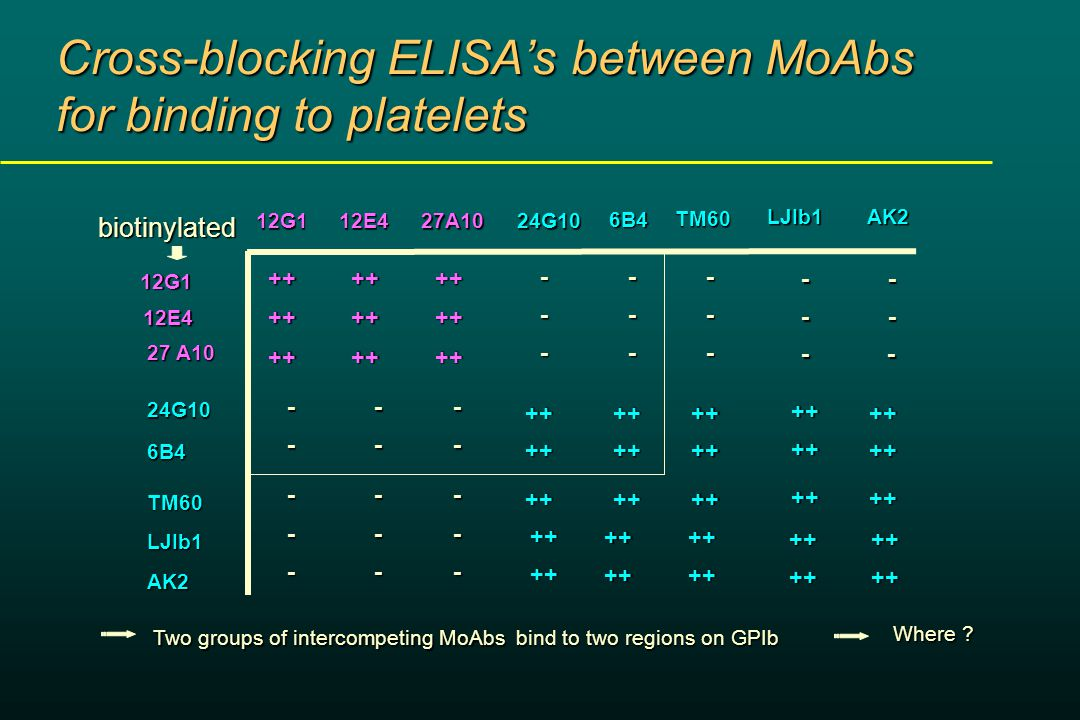 Cross-blocking ELISA's between MoAbs for binding to platelets ++ ++ ++ ++ ++ ++ ++++++ ++ ++ ++ ++ ++ ++ --- - - - - - - TM60 LJIb1 AK2 - - - - - - - - - ++ ++ ++ ++ ++ ++ TM60LJIb1AK2 bind to two regions on GPIb Two groups of intercompeting MoAbs Where .
