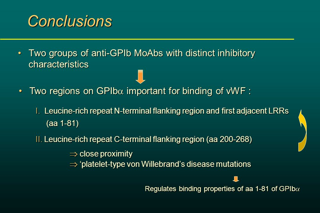  'platelet-type von Willebrand's disease mutations  close proximity Two groups of anti-GPIb MoAbs with distinct inhibitory characteristicsTwo groups of anti-GPIb MoAbs with distinct inhibitory characteristics Conclusions Two regions on GPIb  important for binding of vWF :Two regions on GPIb  important for binding of vWF : I.
