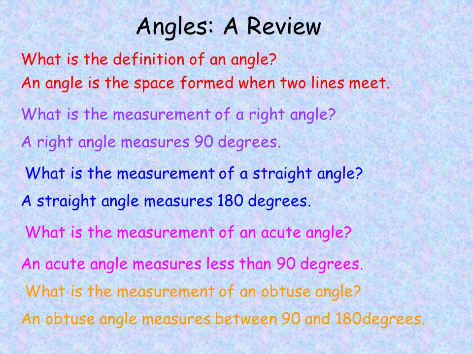 Angles: A Review What is the definition of an angle.