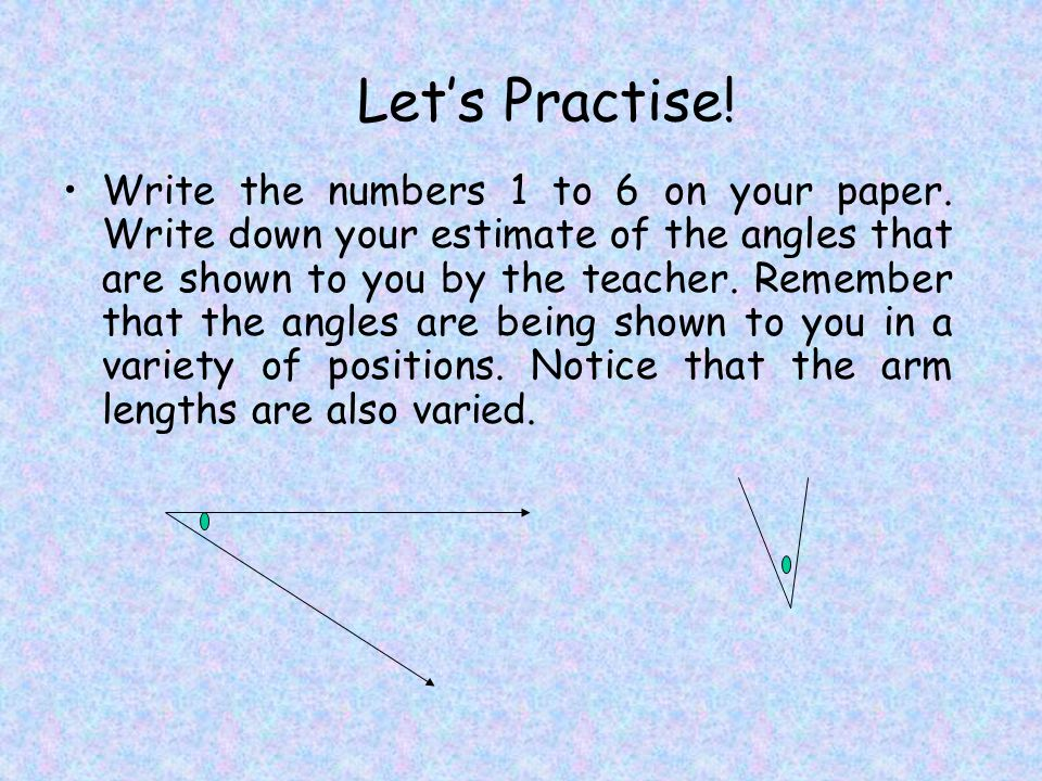 Let's Practise. Write the numbers 1 to 6 on your paper.