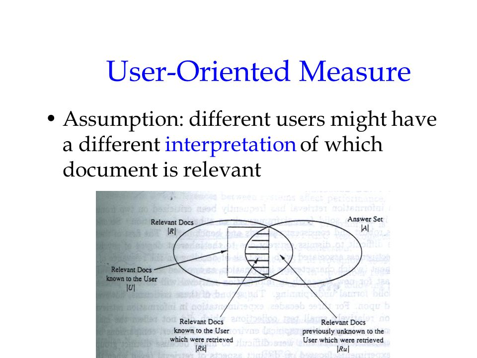 User-Oriented Measure Assumption: different users might have a different interpretation of which document is relevant