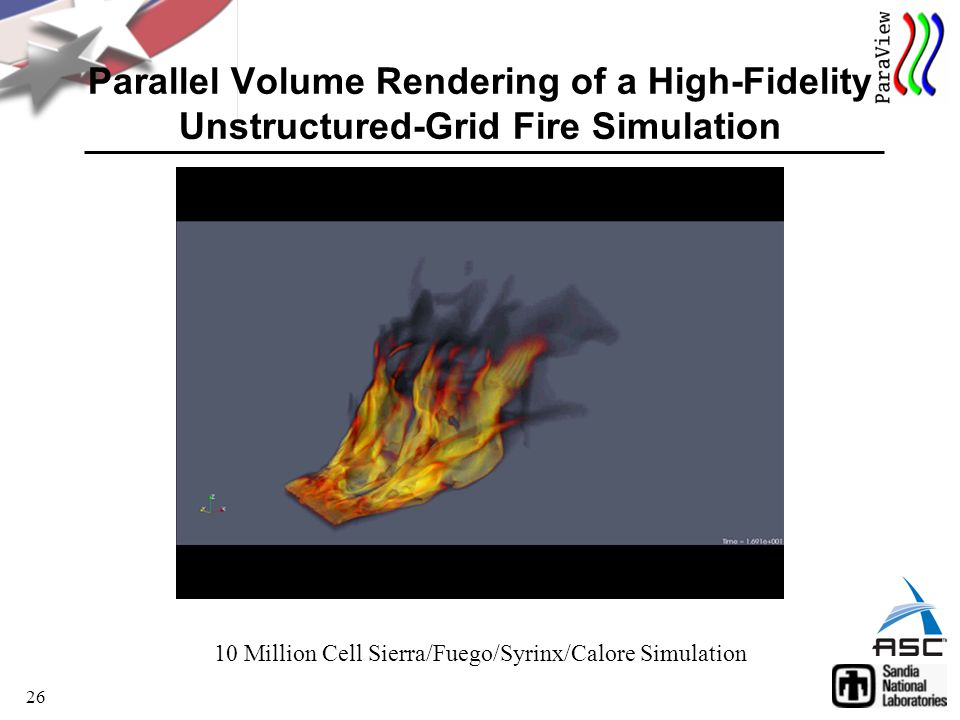 26 Parallel Volume Rendering of a High-Fidelity Unstructured-Grid Fire Simulation 10 Million Cell Sierra/Fuego/Syrinx/Calore Simulation