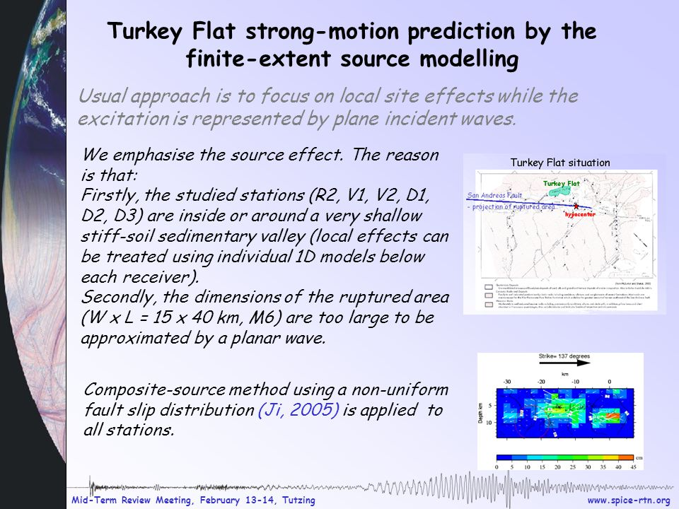 www.spice-rtn.org Mid-Term Review Meeting, February 13-14, Tutzing Turkey Flat strong-motion prediction by the finite-extent source modelling Usual approach is to focus on local site effects while the excitation is represented by plane incident waves.