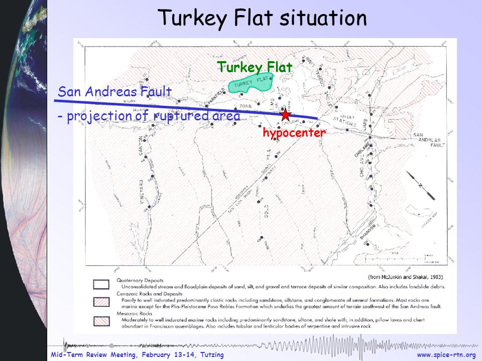 www.spice-rtn.org Mid-Term Review Meeting, February 13-14, Tutzing Turkey Flat situation San Andreas Fault - projection of ruptured area Turkey Flat hypocenter
