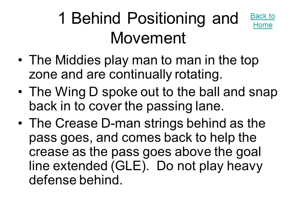 1 Behind Positioning and Movement The Middies play man to man in the top zone and are continually rotating.