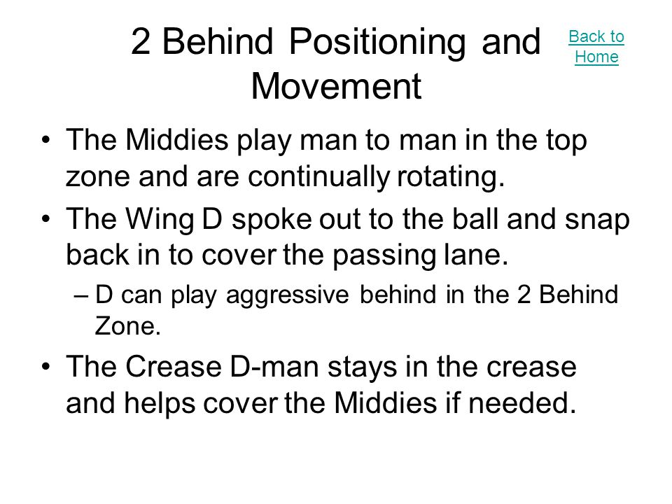 2 Behind Positioning and Movement The Middies play man to man in the top zone and are continually rotating.