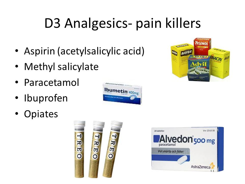 D3 Analgesics- pain killers Aspirin (acetylsalicylic acid) Methyl salicylate Paracetamol Ibuprofen Opiates