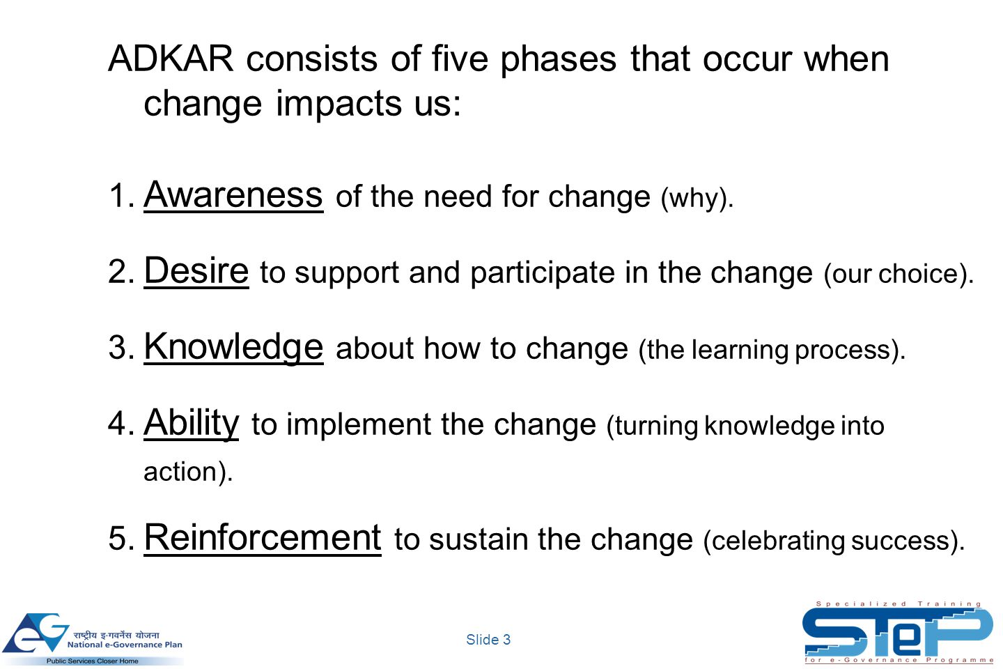 Slide 3 ADKAR consists of five phases that occur when change impacts us: 1.