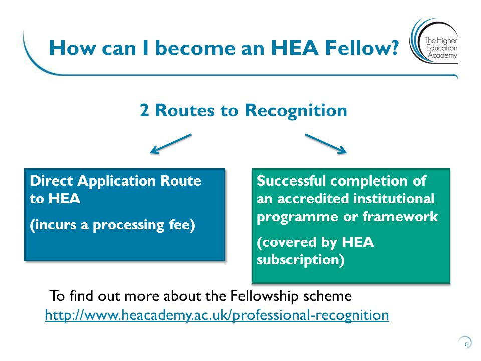 Direct Application Route to HEA (incurs a processing fee) Direct Application Route to HEA (incurs a processing fee) Successful completion of an accredited institutional programme or framework (covered by HEA subscription) Successful completion of an accredited institutional programme or framework (covered by HEA subscription) 6 How can I become an HEA Fellow.