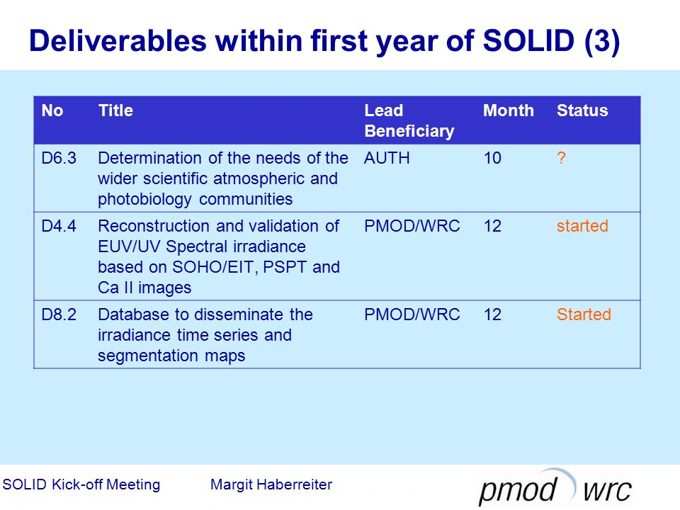 Deliverables within first year of SOLID (3) NoTitleLead Beneficiary MonthStatus D6.3Determination of the needs of the wider scientific atmospheric and photobiology communities AUTH10.