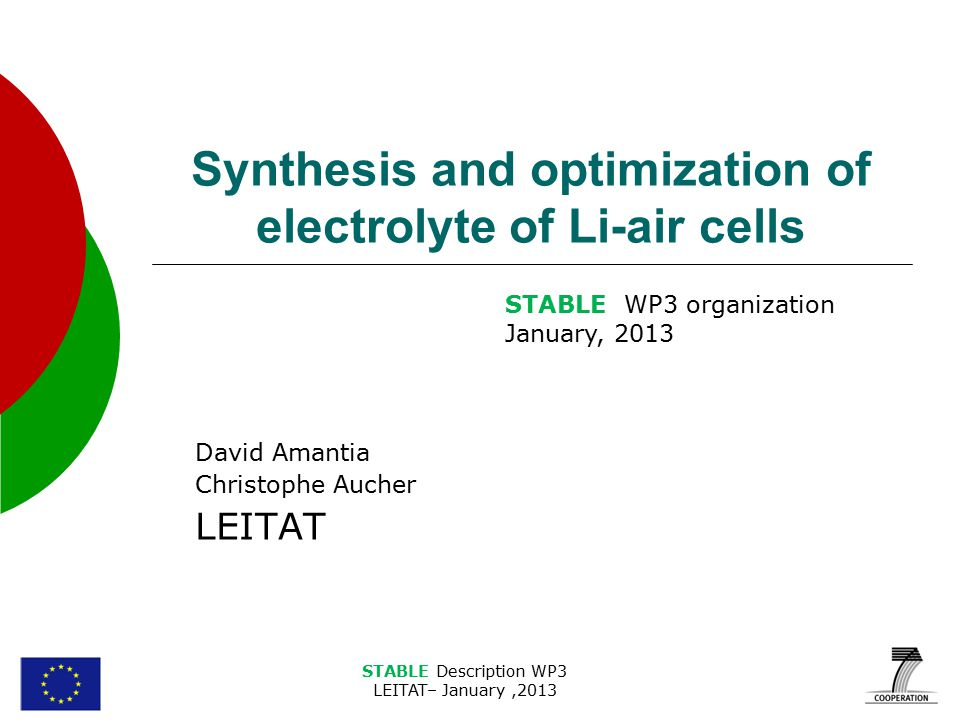 STABLE Description WP3 LEITAT– January,2013 Synthesis and optimization of electrolyte of Li-air cells David Amantia Christophe Aucher LEITAT STABLE WP3 organization January, 2013