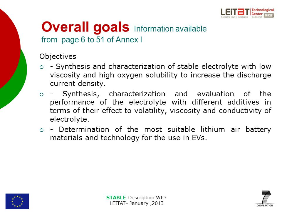 STABLE Description WP3 LEITAT– January,2013 Overall goals Information available from page 6 to 51 of Annex I Objectives  - Synthesis and characterization of stable electrolyte with low viscosity and high oxygen solubility to increase the discharge current density.