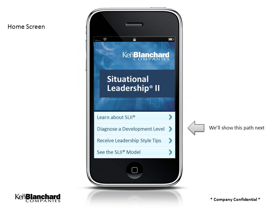 * Company Confidential * Home Screen Learn about SLII® Diagnose a Development Level Receive Leadership Style Tips See the SLII® Model We'll show this path next Situational Leadership ® II a