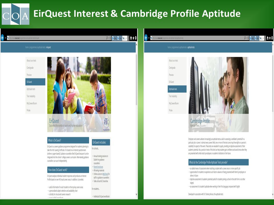 EirQuest Interest & Cambridge Profile Aptitude