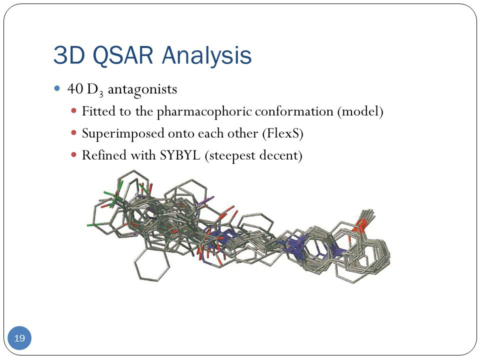 3D QSAR Analysis 19 40 D 3 antagonists Fitted to the pharmacophoric conformation (model) Superimposed onto each other (FlexS) Refined with SYBYL (steepest decent)