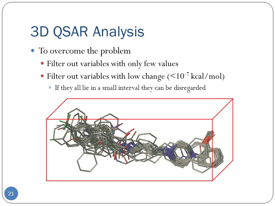 3D QSAR Analysis 21 To overcome the problem Filter out variables with only few values Filter out variables with low change (<10 -7 kcal/mol) If they all lie in a small interval they can be disregarded