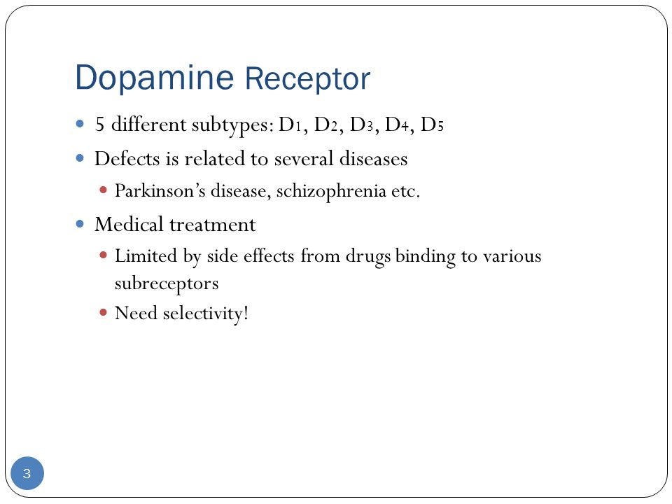 Dopamine Receptor 3 5 different subtypes: D 1, D 2, D 3, D 4, D 5 Defects is related to several diseases Parkinson's disease, schizophrenia etc.