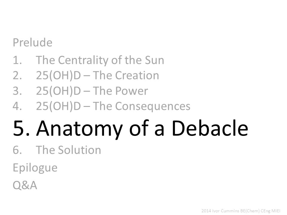 Prelude 1.The Centrality of the Sun 2.25(OH)D – The Creation 3.25(OH)D – The Power 4.25(OH)D – The Consequences 5.Anatomy of a Debacle 6.The Solution Epilogue Q&A 2014 Ivor Cummins BE(Chem) CEng MIEI