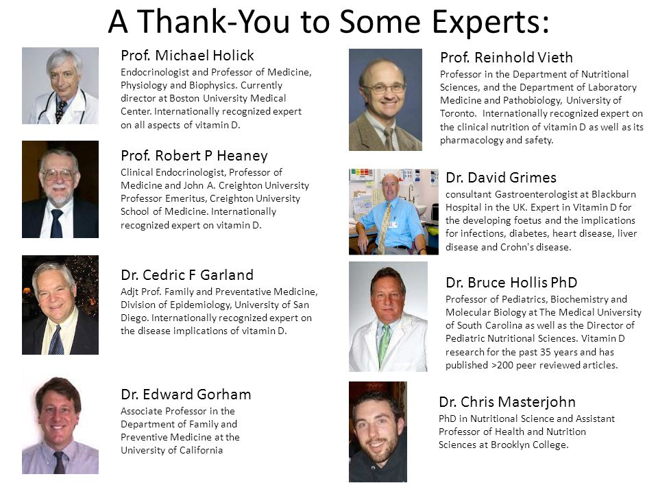 A Thank-You to Some Experts: Prof.