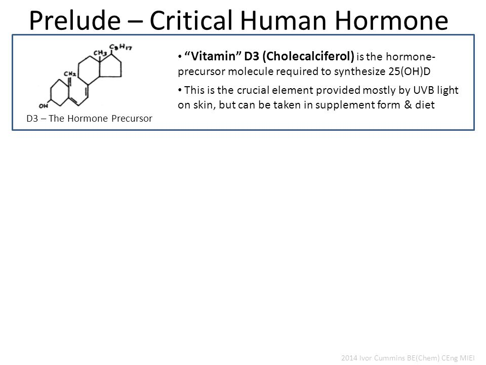 Prelude – Critical Human Hormone D3 – The Hormone Precursor 2014 Ivor Cummins BE(Chem) CEng MIEI Vitamin D3 (Cholecalciferol) is the hormone- precursor molecule required to synthesize 25(OH)D This is the crucial element provided mostly by UVB light on skin, but can be taken in supplement form & diet