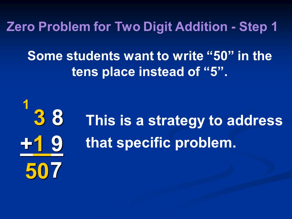 3 8 +1 9 7 1 Zero Problem for Two Digit Addition - Step 1 Some students want to write 50 in the tens place instead of 5 .