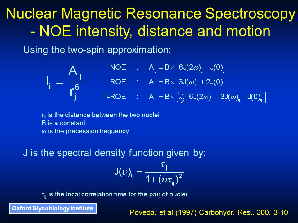 Oxford Glycobiology Institute Nuclear Magnetic Resonance Spectroscopy - NOE intensity, distance and motion Using the two-spin approximation: r ij is the distance between the two nuclei B is a constant  is the precession frequency J is the spectral density function given by:  ij is the local correlation time for the pair of nuclei Poveda, et al (1997) Carbohydr.