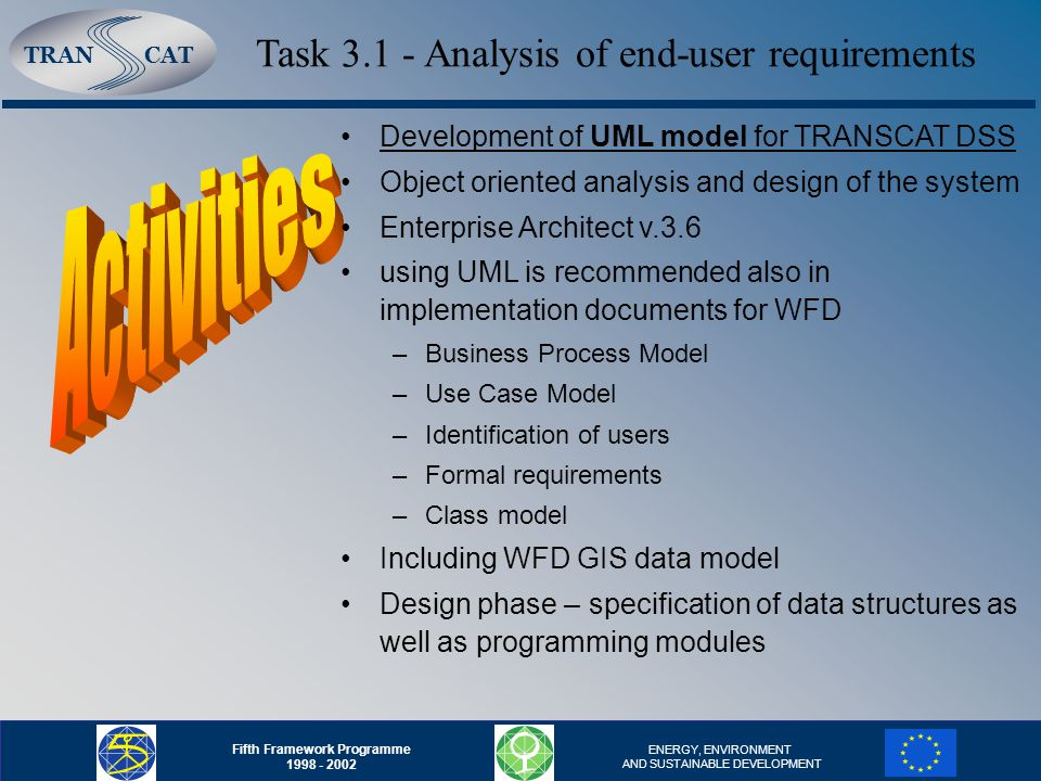 TRANCAT Fifth Framework Programme 1998 - 2002 ENERGY, ENVIRONMENT AND SUSTAINABLE DEVELOPMENT Task 3.1 - Analysis of end-user requirements Development of UML model for TRANSCAT DSS Object oriented analysis and design of the system Enterprise Architect v.3.6 using UML is recommended also in implementation documents for WFD –Business Process Model –Use Case Model –Identification of users –Formal requirements –Class model Including WFD GIS data model Design phase – specification of data structures as well as programming modules