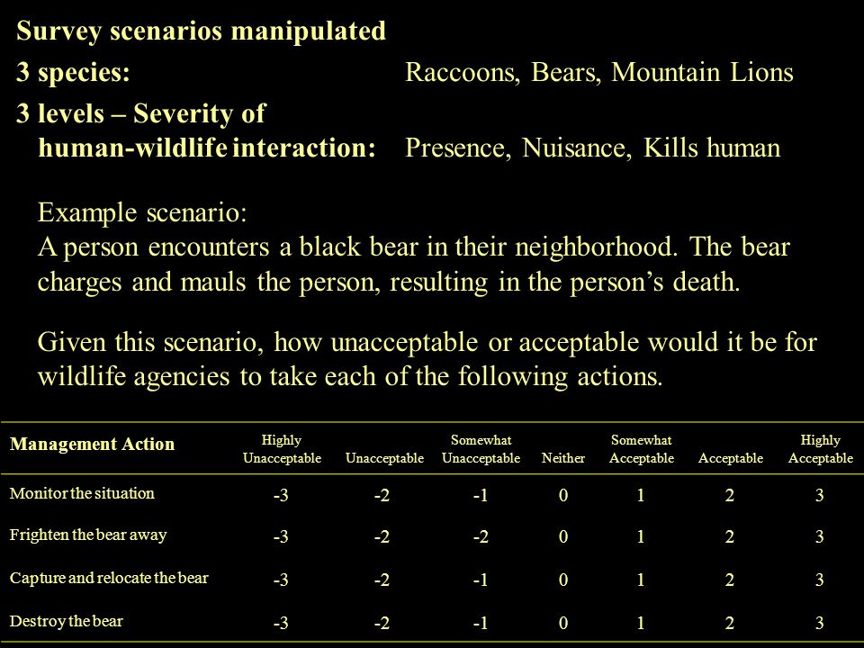 Survey scenarios manipulated 3species:Raccoons, Bears, Mountain Lions 3 levels – Severity of human-wildlife interaction:Presence, Nuisance, Kills human Management Action Highly Unacceptable Unacceptable Somewhat UnacceptableNeither Somewhat AcceptableAcceptable Highly Acceptable Monitor the situation -3-20123 Frighten the bear away -3-2 0123 Capture and relocate the bear -3-20123 Destroy the bear -3-20123 Example scenario: A person encounters a black bear in their neighborhood.
