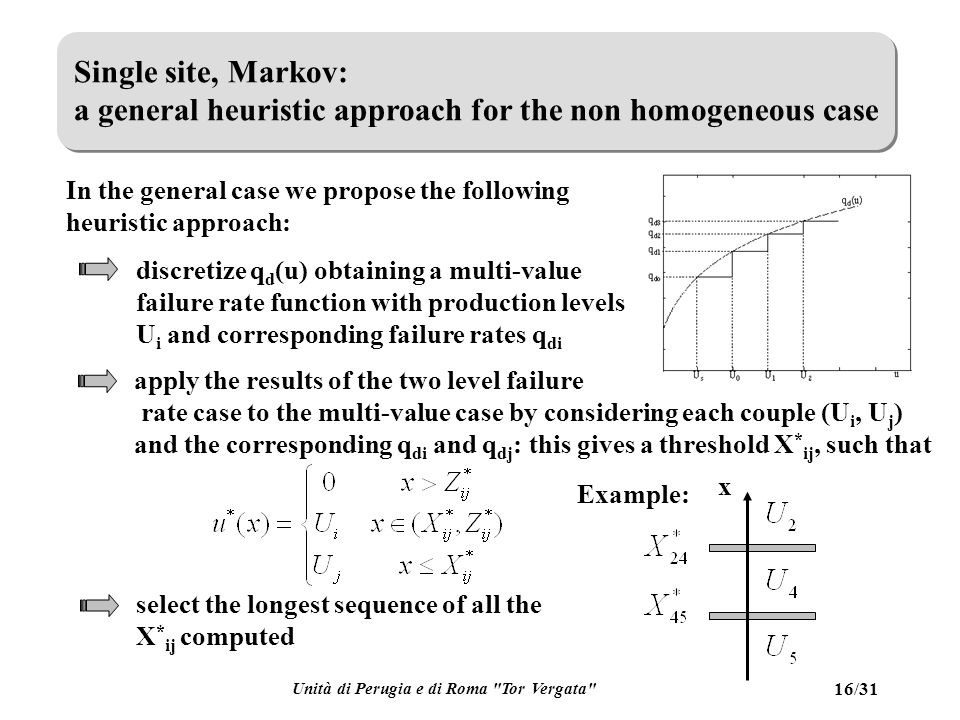 Unità di Perugia e di Roma Tor Vergata 16/31 Single site, Markov: a general heuristic approach for the non homogeneous case In the general case we propose the following heuristic approach: discretize q d (u) obtaining a multi-value failure rate function with production levels U i and corresponding failure rates q di apply the results of the two level failure rate case to the multi-value case by considering each couple (U i, U j ) and the corresponding q di and q dj : this gives a threshold X * ij, such that select the longest sequence of all the X * ij computed Example: x