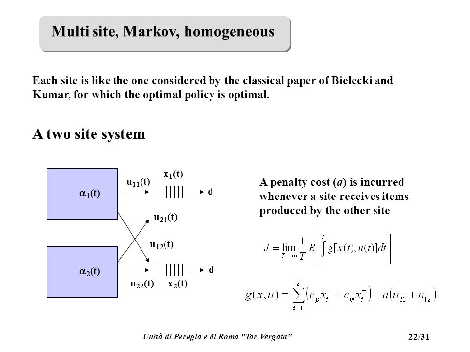Unità di Perugia e di Roma Tor Vergata 22/31 Multi site, Markov, homogeneous Each site is like the one considered by the classical paper of Bielecki and Kumar, for which the optimal policy is optimal.